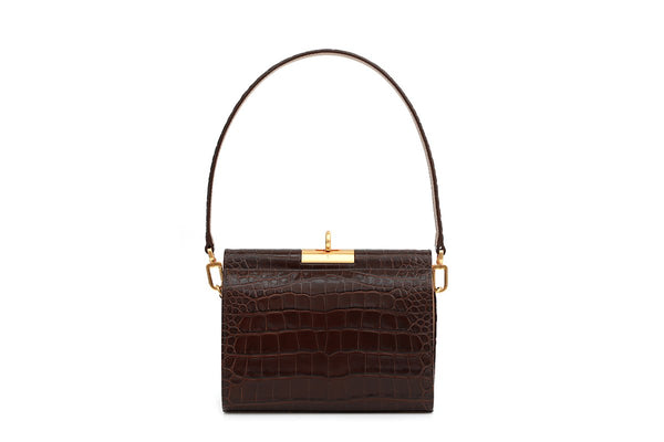 Gemma Brown Croc Embossed Leather Bag with 24K Satin Gold Hardware