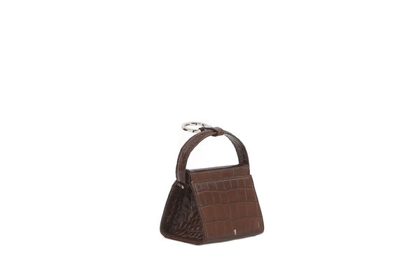 Mini Play Brown Croc-Embossed Leather Bag
