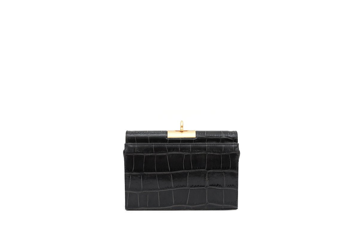 Luxy Charcoal Croc-Embossed Leather Bag - gu_de