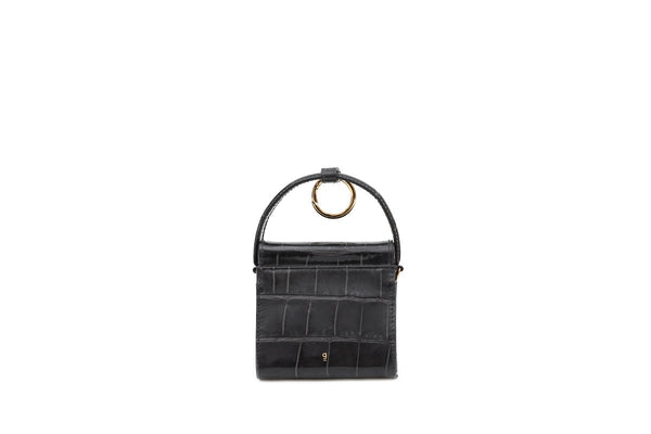 Mini Play Charcoal Croc-Embossed Leather Bag