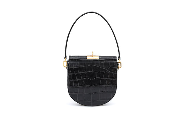 Demilune Charcoal Croc-Embossed Leather Bag - gu_de