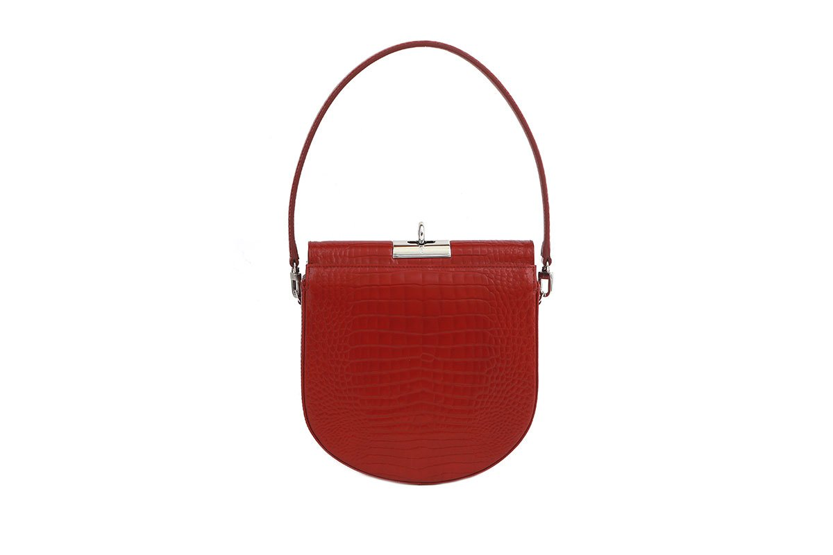 Demilune Cherry Croc-Embossed Leather Bag