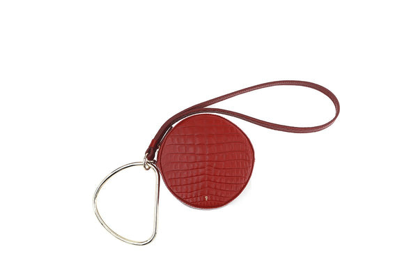 Circle Cherry Croc-Embossed Leather Bag - gu_de