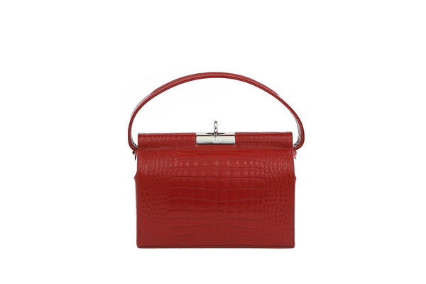 Milky Cherry Croc-Embossed Leather Bag