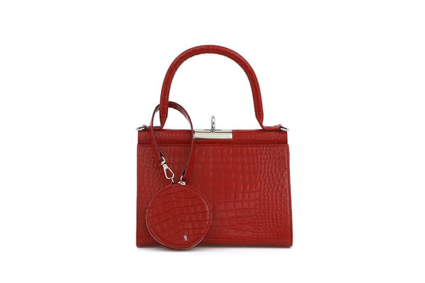 Play Cherry Croc-Embossed Leather Bag