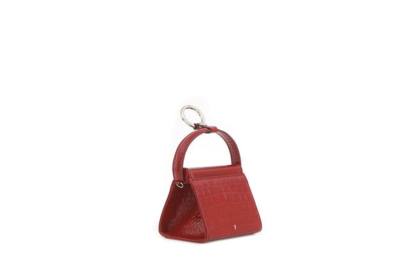 Mini Play Cherry Croc-Embossed Leather Bag