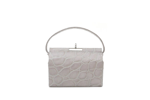 Milky Cloud Croc-Embossed Leather Bag