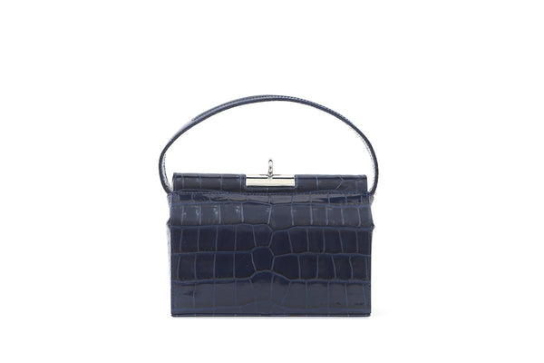 Milky Deep Blue Croc-Embossed Leather Bag - EXCLUSIVE