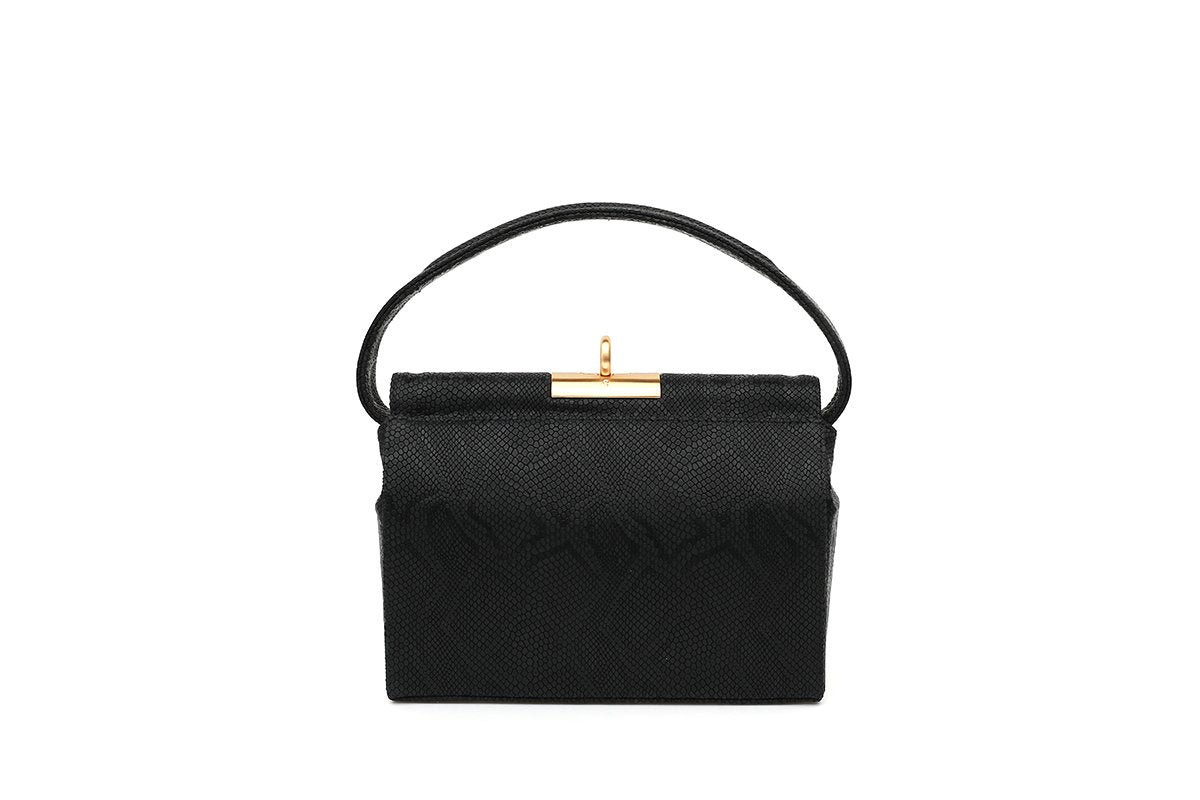 Milky Ebony Croc-Embossed Leather Bag