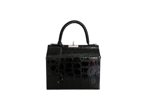 Edge New Black Croc-Embossed Leather Bag - EXCLUSIVE