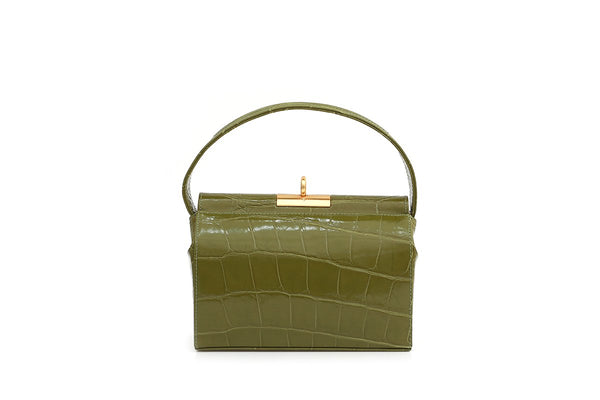 Milky Guacamole Croc-Embossed Leather Bag