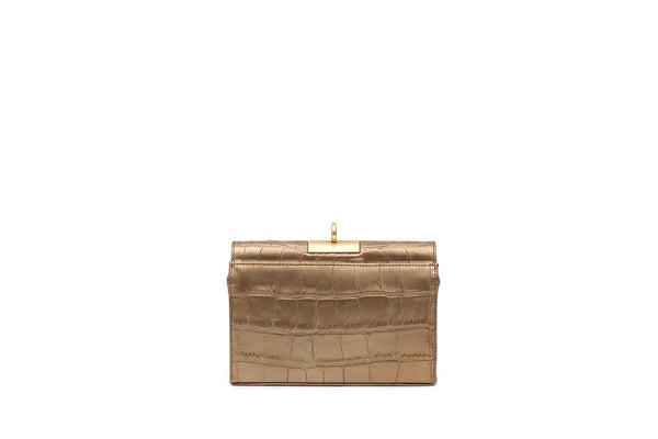 Luxy Gold Croc-Embossed Leather Bag