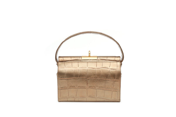 Milky Gold Croc-Embossed Leather Bag