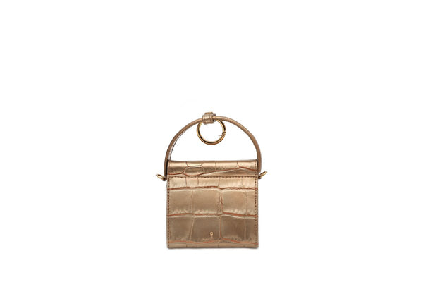 Mini Play Gold Croc-Embossed Leather Bag