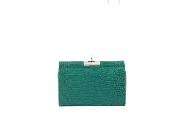 Luxy Green Croc-Embossed Leather Bag