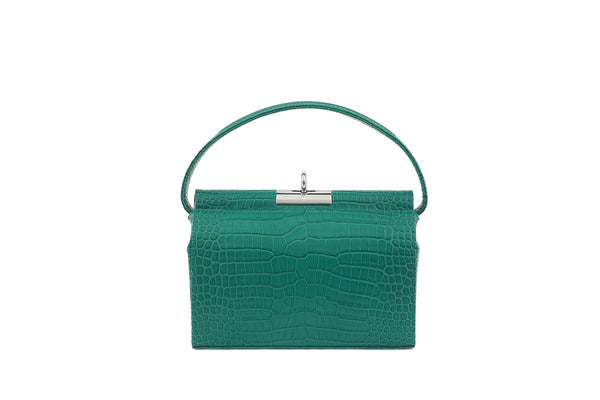 Milky Green Croc-Embossed Leather Bag