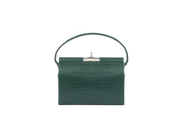 Milky Forest Croc-Embossed Leather Bag