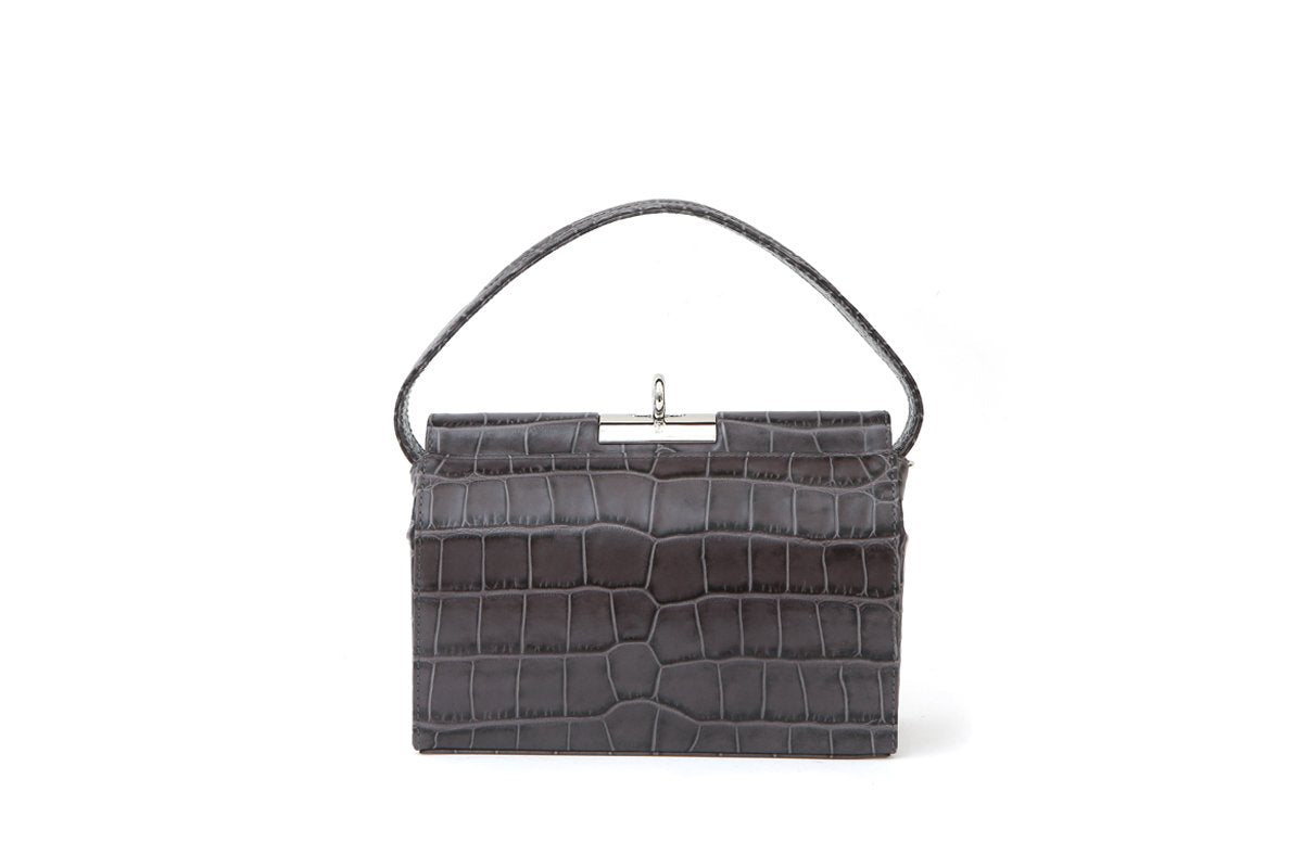 Milky Grey Croc-Embossed Leather Bag - gu_de