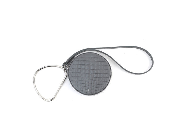 Circle Grey Croc-Embossed Leather Bag - gu_de