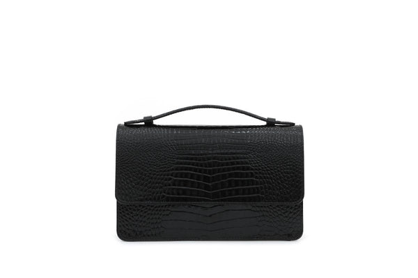 Pre-Order Harry Black Croc-Embossed Leather Bag - gu_de