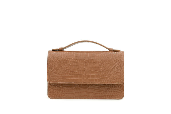 Pre-Order Harry Beige Croc-Embossed Leather Bag - gu_de