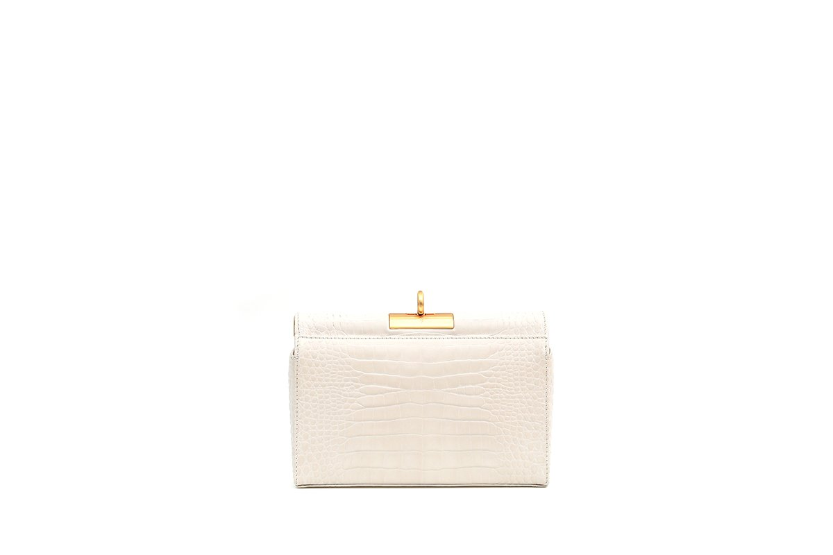 Luxy Ivory Croc-Embossed Leather Bag with 24K Satin Gold Hardware - gu_de