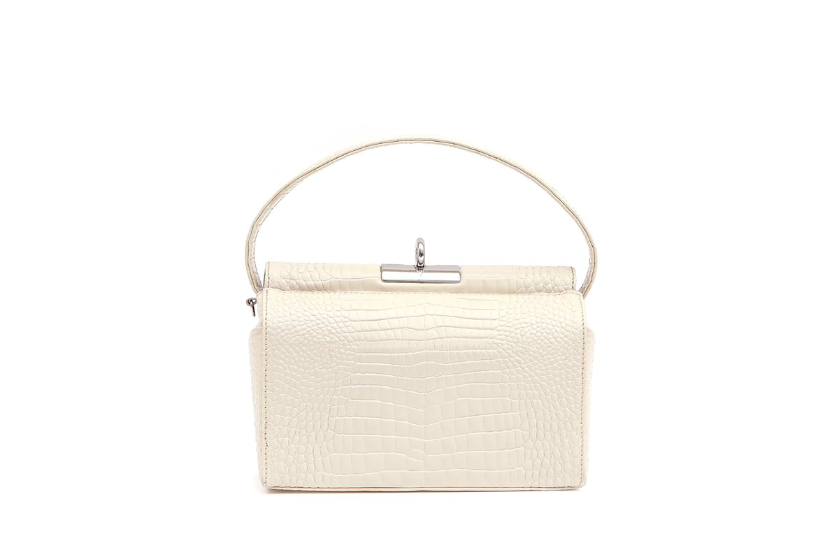 Milky Ivory Croc-Embossed Leather Bag
