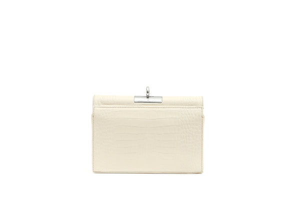 Luxy Ivory Croc-Embossed Leather Bag with Silver Tone Hardware