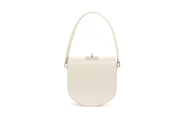 Demilune Ivory Croc-Embossed Leather Bag - gu_de