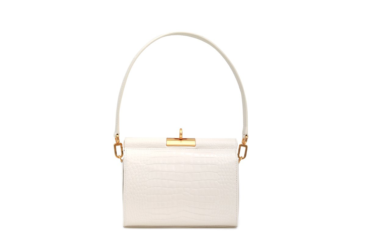 Gemma Ivory Croc Embossed Leather Bag with 24K Satin Gold Hardware - gu_de