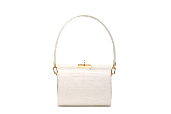 Gemma Ivory Croc Embossed Leather Bag with 24K Satin Gold Hardware