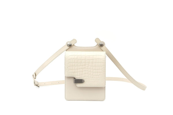 Louise Ivory Croc-Embossed Cross Body Leather Bag - EXCLUSIVE