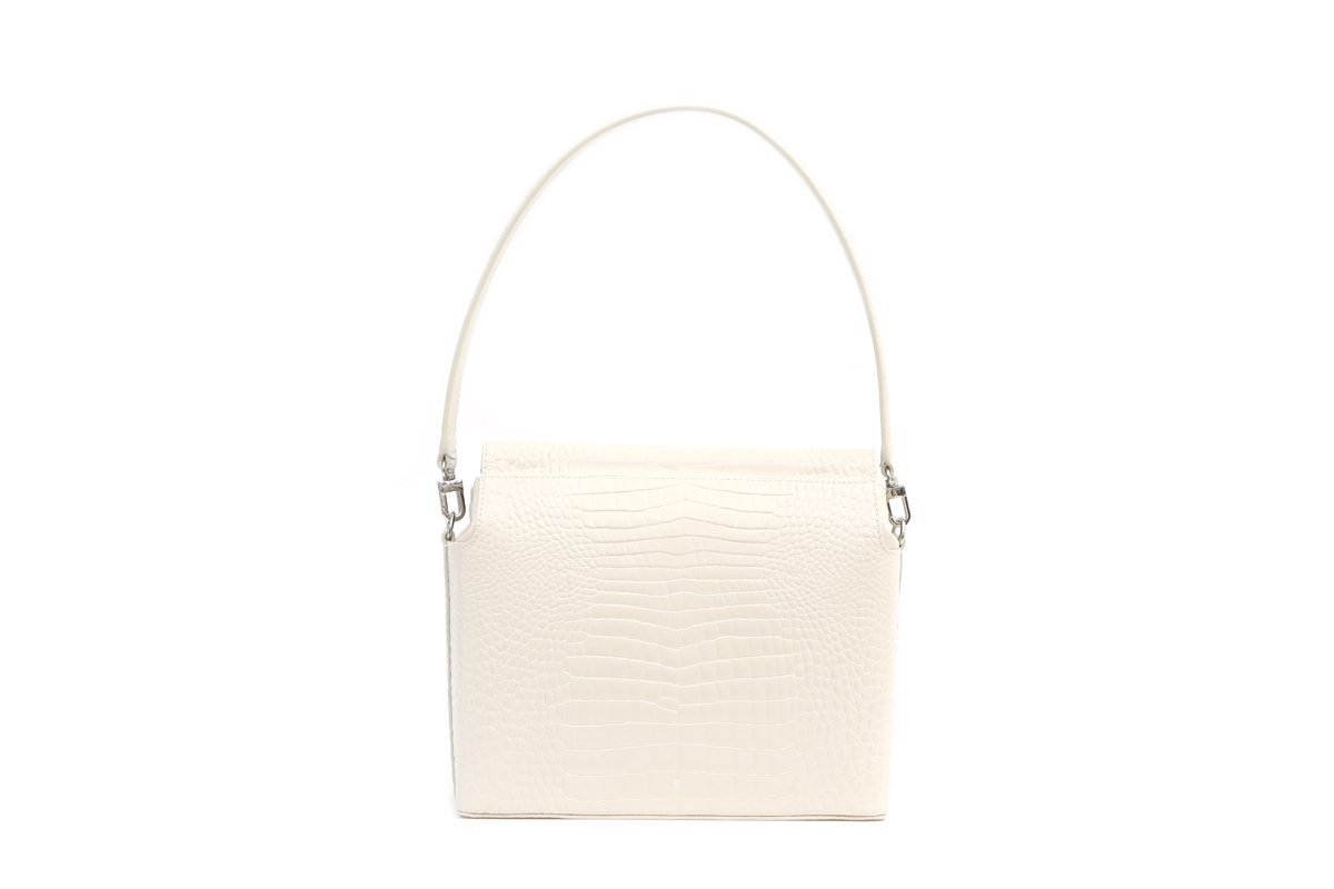 Duet Ivory Croc-Embossed Leather Bag