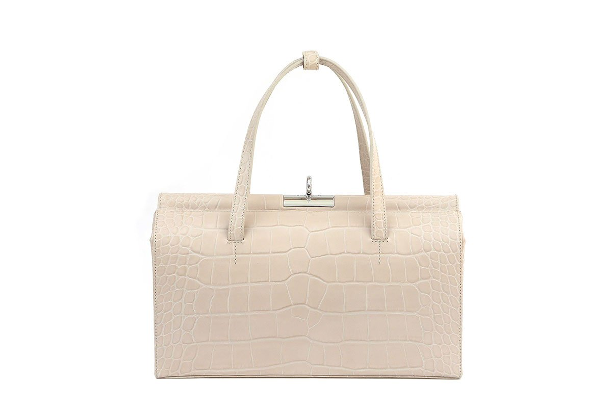 Margot L-Beige Croc-Embossed Leather Bag - gu_de