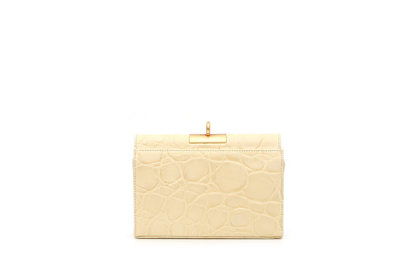 Luxy Lemonade Croc-Embossed Leather Bag with 24K Satin Gold Hardware
