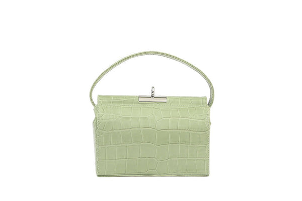 Milky L-Green Croc-Embossed Leather Bag