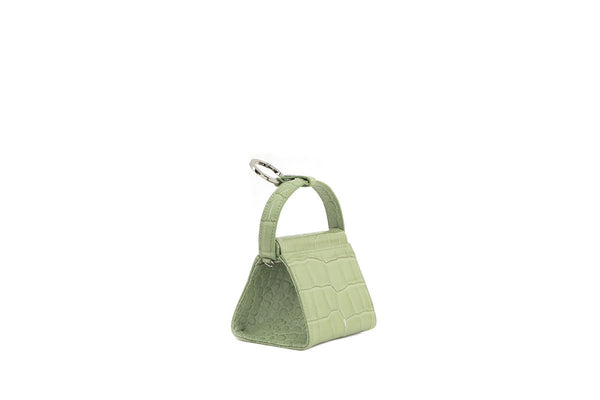 Mini Play L-Green Croc-Embossed Leather Bag