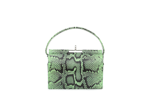 Milky Lime Green Python Embossed Leather Bag