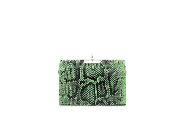 Luxy Lime Green Python-Embossed Leather Bag with Silver Tone Hardware