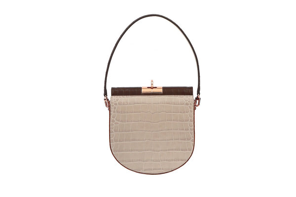 Demilune Multi-Beige Croc-Embossed Leather Bag - gu_de