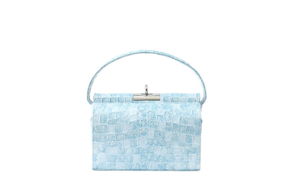 Milky Multi Blue Croc-Embossed Leather Bag - gu_de