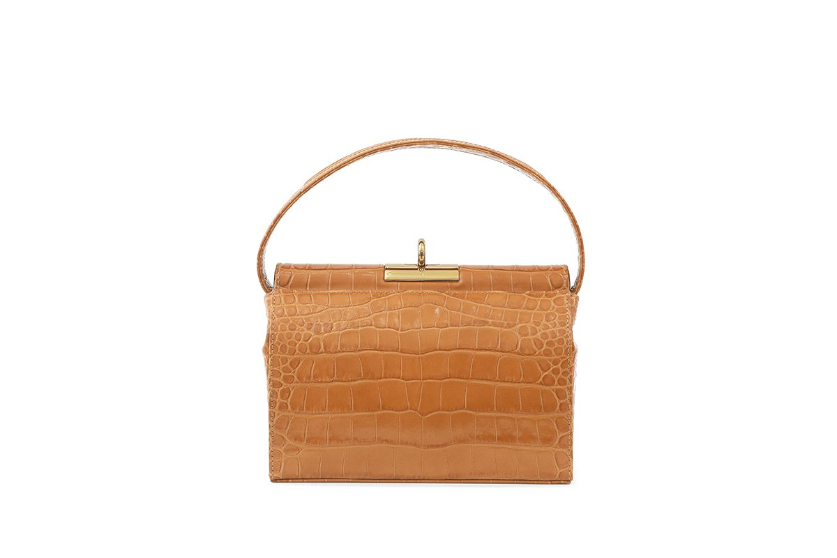 Milky Mustard Croc-Embossed Leather Bag - EXCLUSIVE