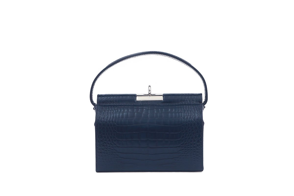 Milky Navy Croc-Embossed Leather Bag - gu_de