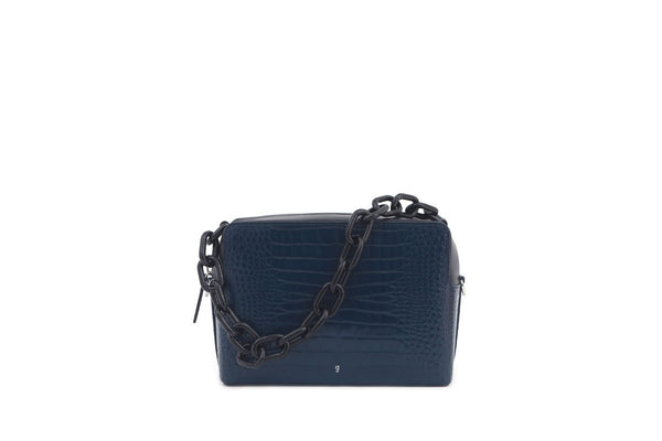 G-Box Navy Croc-Embossed Leather Bag - gu_de