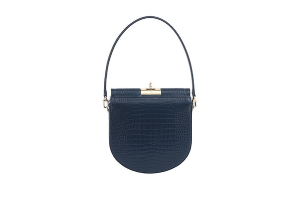Demilune Navy Croc-Embossed Leather Bag - gu_de