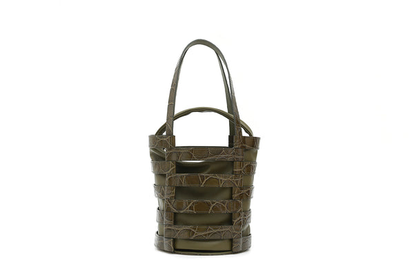 Nettie Olive Green Croc-Embossed Leather Bag