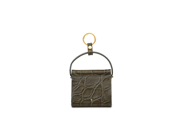 Mini Play Olive Green Croc-Embossed Leather Bag