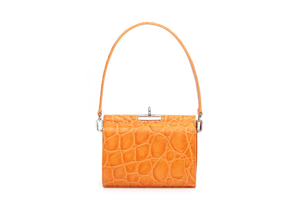 Gemma Orange Croc Embossed Leather Bag with Silver Tone Hardware