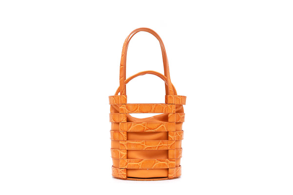 Nettie Orange Croc-Embossed Leather Bag