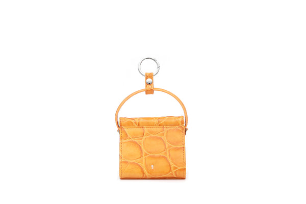 Mini Play Orange Croc-Embossed Leather Bag